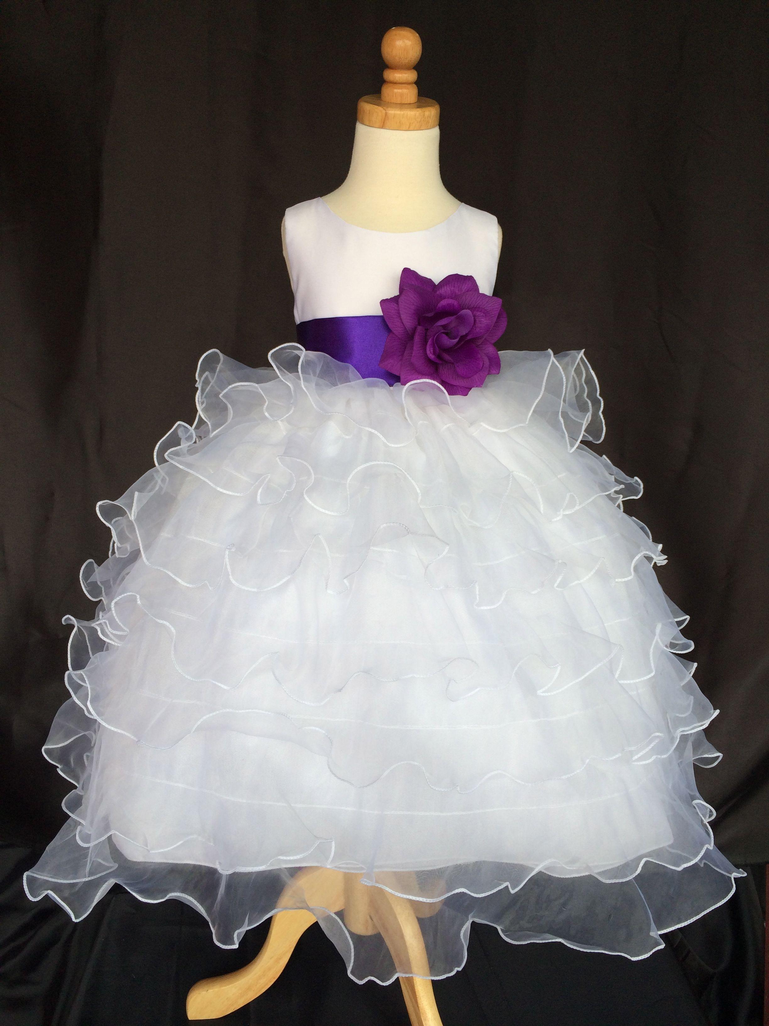 Flower Girl Bridesmaids Wedding White Organza Dress Lovely Sash And