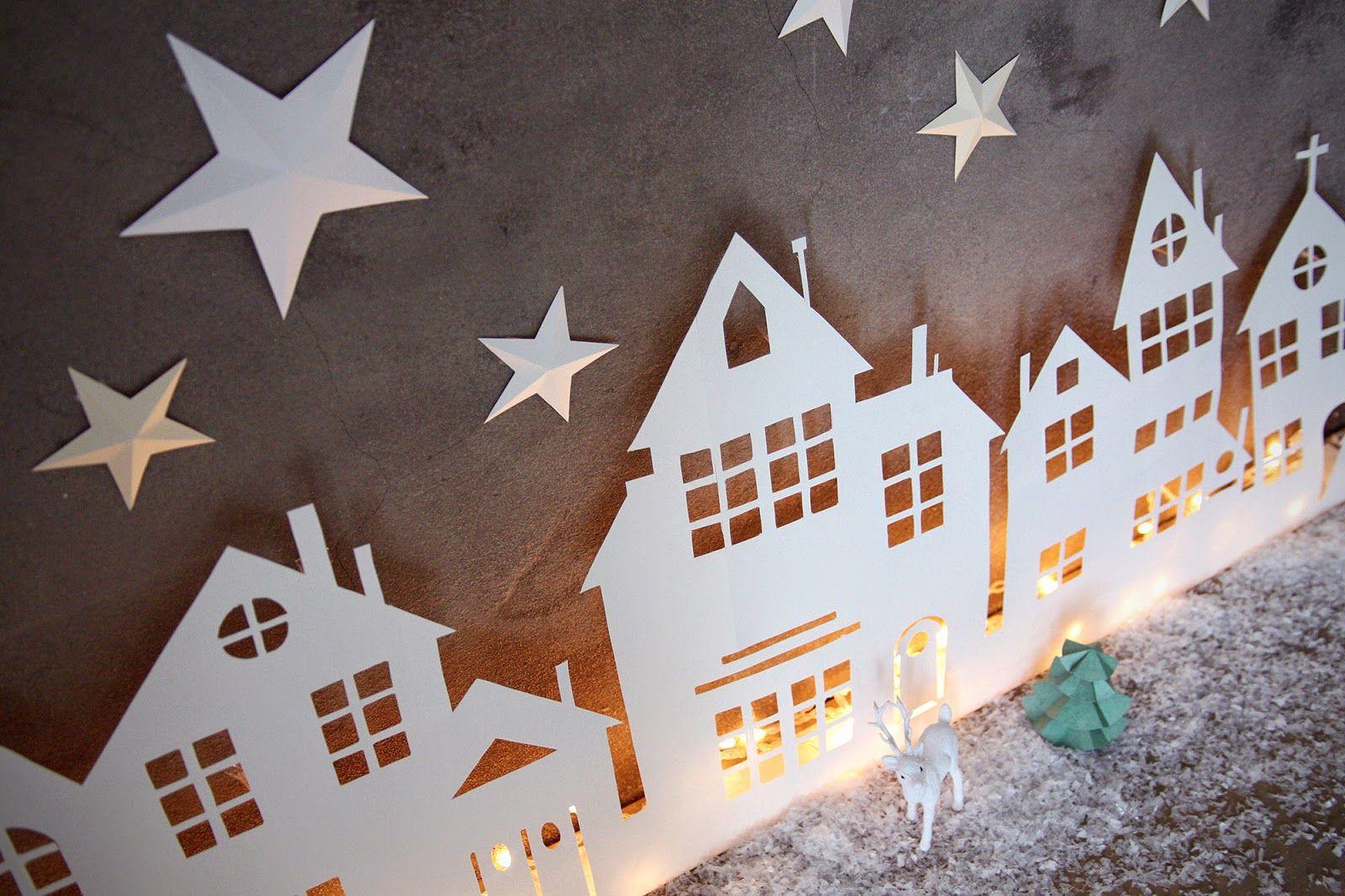 Aux petites merveilles blog cr atif diy food vie de maman ect diy village lumineux - Decoupage papier deco noel ...