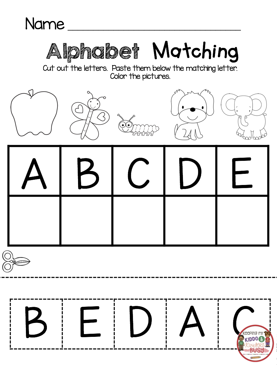 KINDERGARTEN Back to School printables and worksheets for