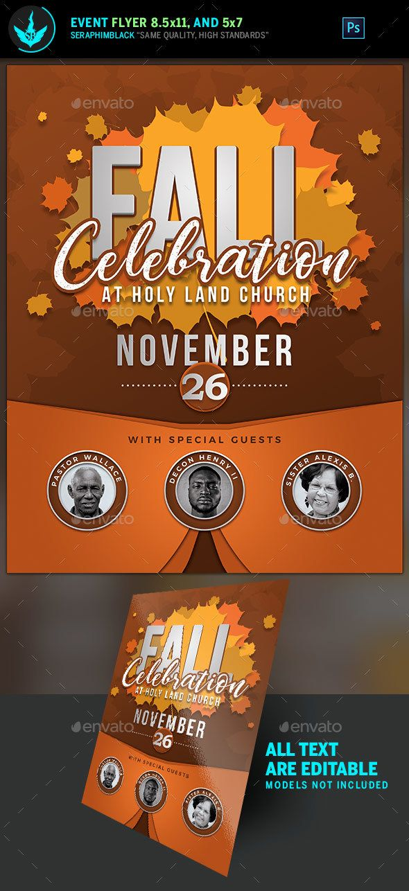Fall Celebration Church Flyer Template  Celebration Church Flyer