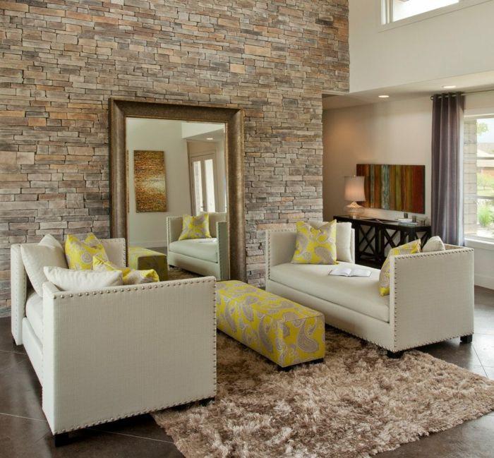 ▷ 1001 + Ideen Für Steinwand Wohnzimmer Zum Inspirieren | Pinterest | Gelbe  Zimmer, Steinwand Wohnzimmer Und Großer Spiegel