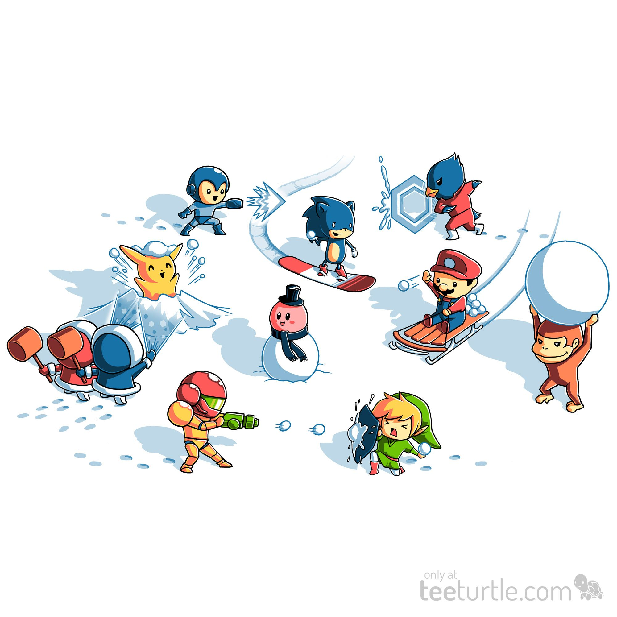 """You've unlocked a new stage! (Hot chocolate not included.) Get """"Snowball Fight"""" for just $12 for ONLY 48 HOURS: http://www.teeturtle.com/products/snowball-fight"""