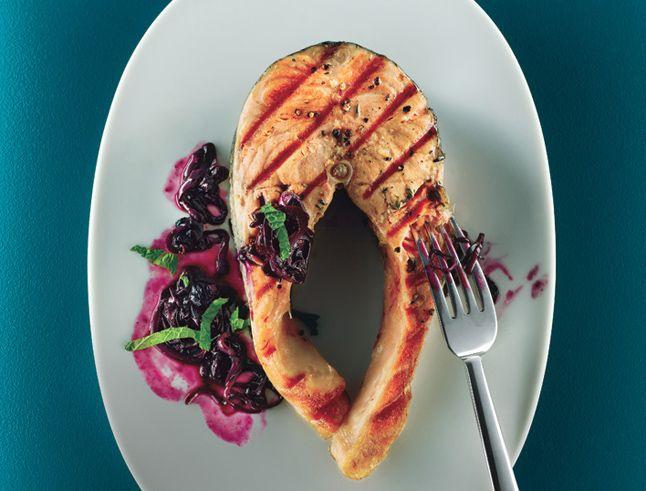 Grilled Salmon with Quick Blueberry Pan Sauce - Bon Appétit