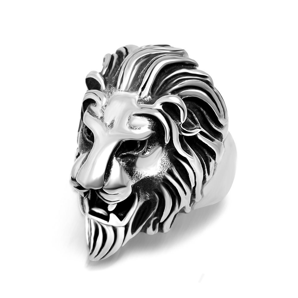 Punk Gothic Band Ring Stainless Steel Tiger Head Animals Glamour Finger Ring