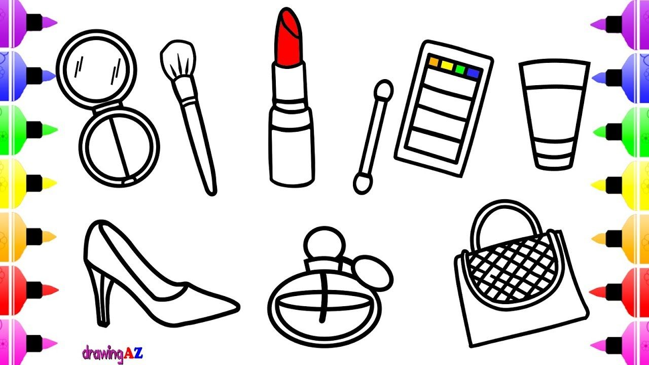 How to Draw Lipstick and Makeup Tools for Girls   Coloring Pages for ...