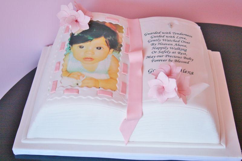 Christening Cake Book Design : Open Bible Baptism Cake; New Jersey NJ Custom Cakes Book ...