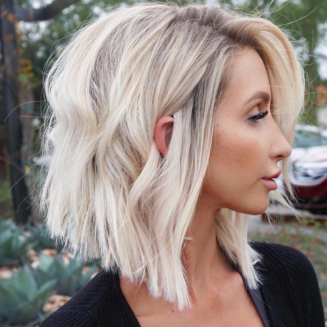 Hair Inspo Loving This Creamy Blonde Lob Created By Maggiemh Fanola Blondehair Haircolour Hairst Thick Hair Styles Hair Styles Lob Haircut