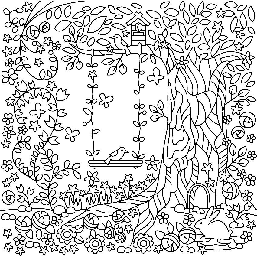 Summer Coloring Book Pages Little Girl Swing Summer Coloring Pages Embroidery Patterns Vintage Vintage Embroidery