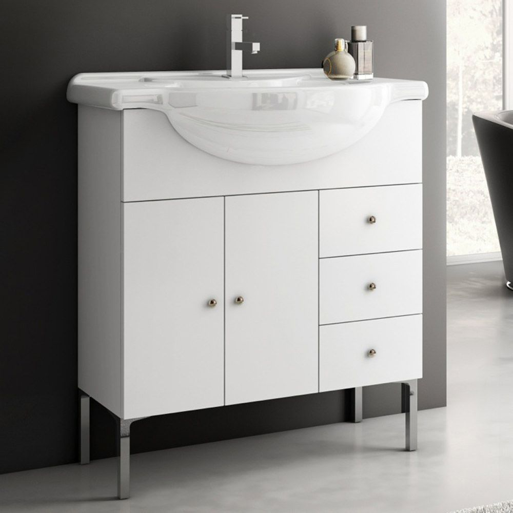 32 Inch Single Sink Bathroom Vanity With Black Granite Top With