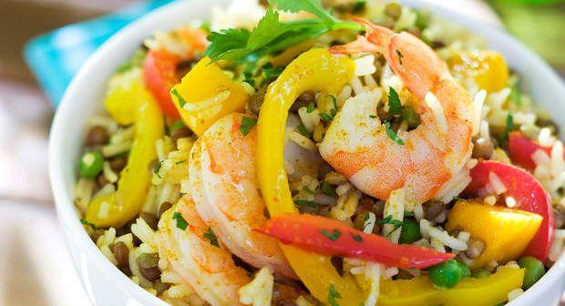 Voir la recette de la Salade de riz indienne aux crevettes >>