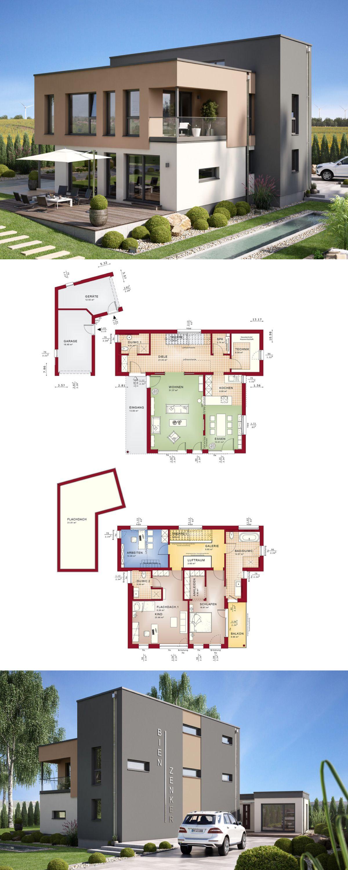 minimalistische stadtvilla mit garage haus concept m 198 bien zenker einfamilienhaus mit. Black Bedroom Furniture Sets. Home Design Ideas