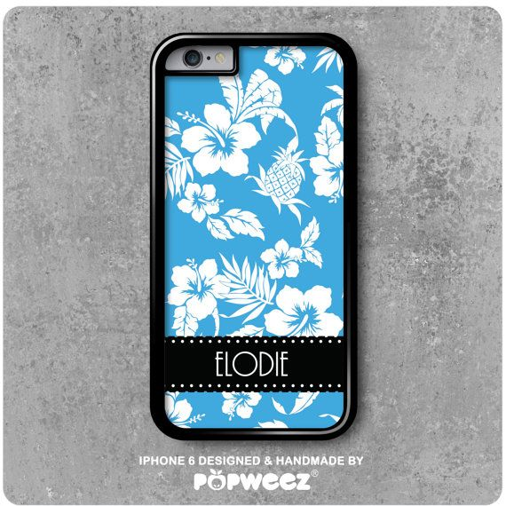 Coque iPhone 6 Bleue Hawaï Personnalisée avec Prénom par POPWEEZ ...
