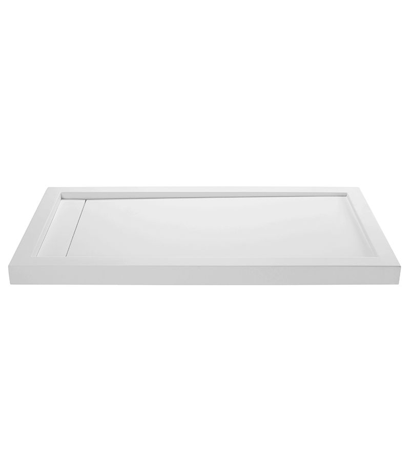 End drain shower base with single dual or triple