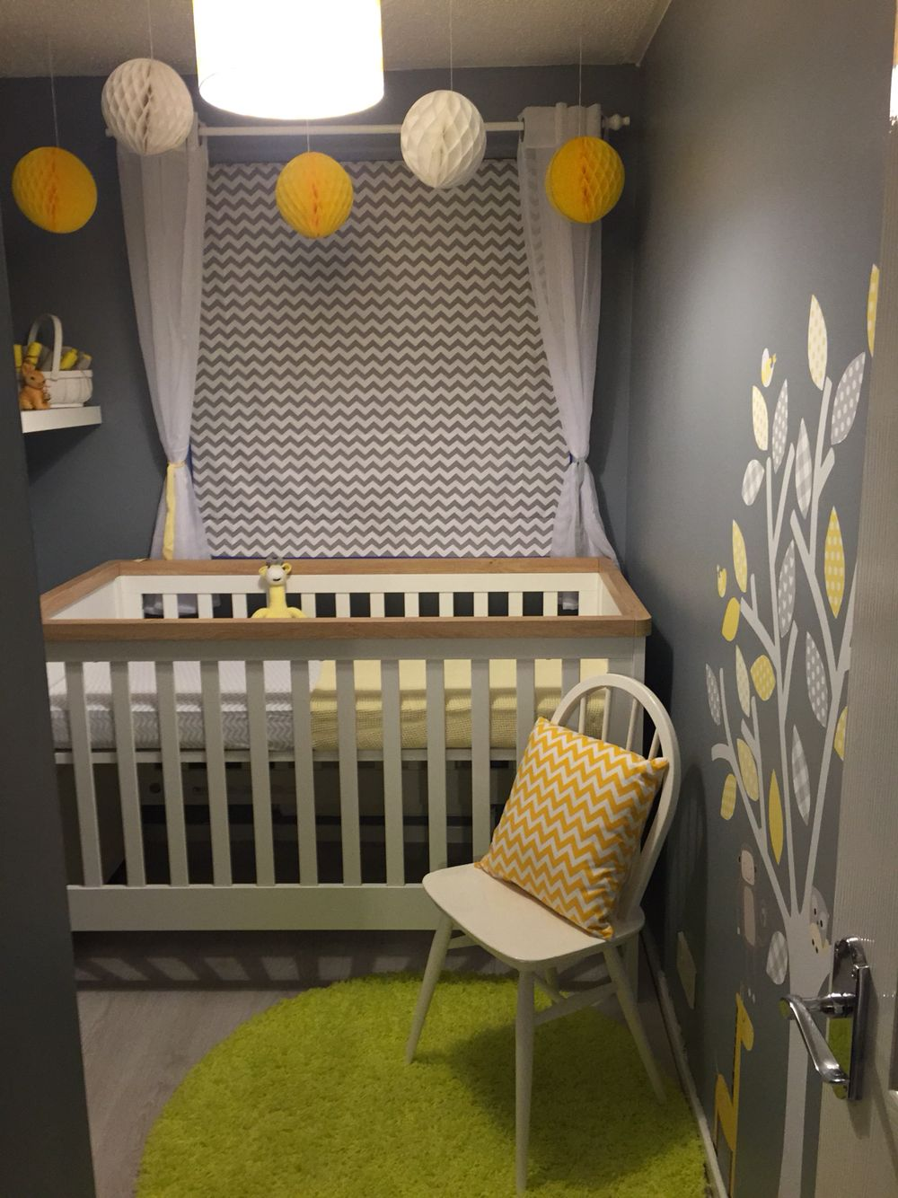 baby nursery yellow grey gender neutral. Gender Neutral - Unisex / Baby Room -Nursery Design Chevron Yellow Grey White Wall Stickers Roman Blind Furniture | Dream Kid Pinterest Nursery L