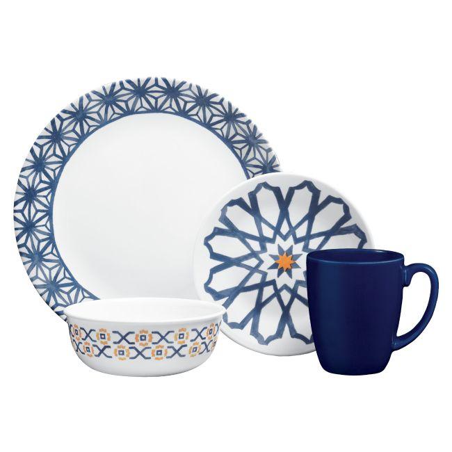 Corelle Amalfi Azul 16 Piece Dinnerware Set Service For 4