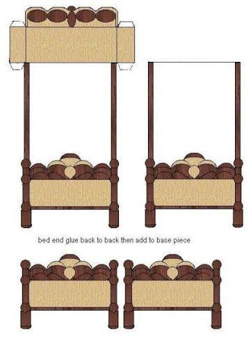 Maqueta de una cama recortable de una cama maquetas for Muebles para armar