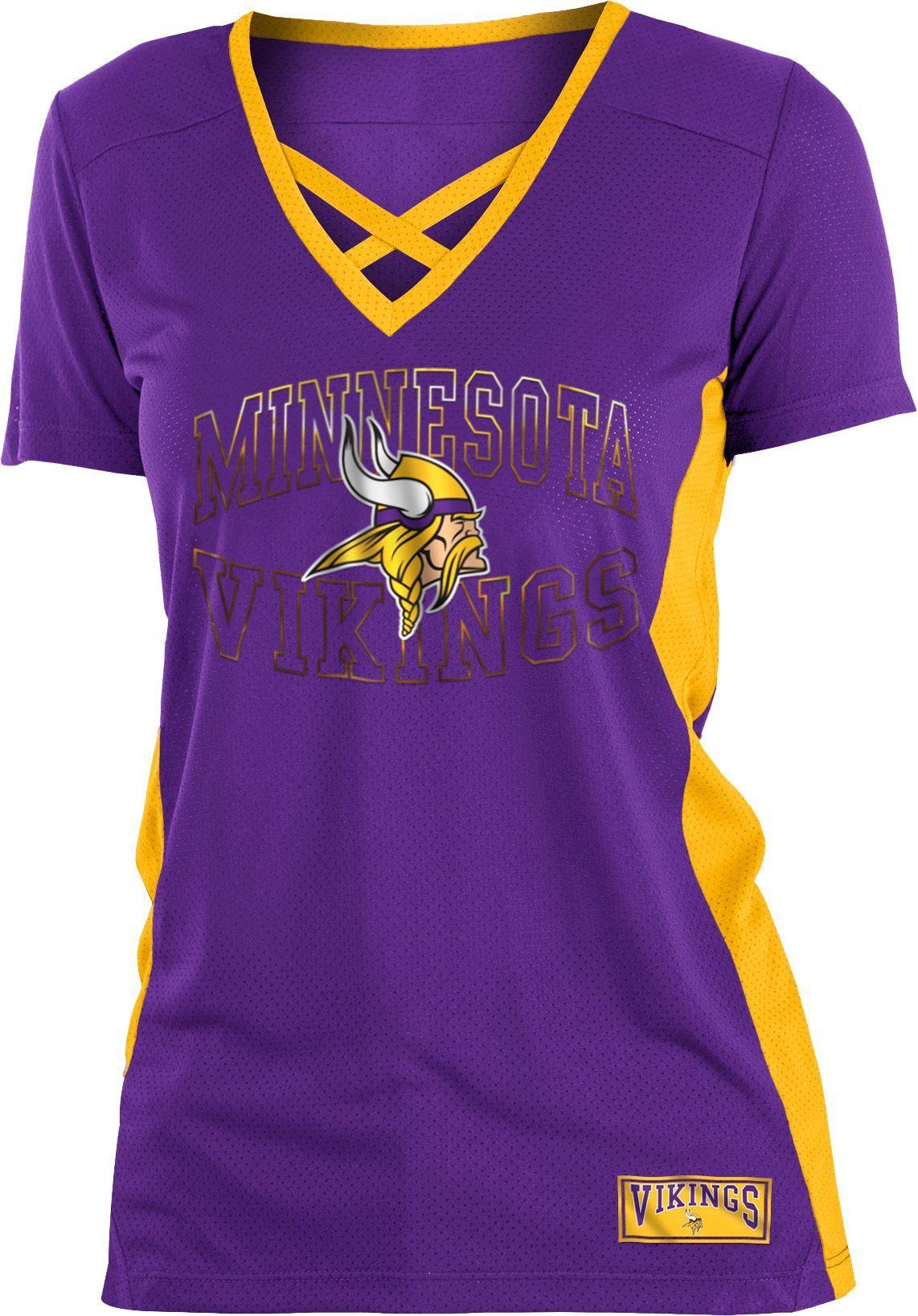 9ba2fa21 Minnesota Vikings New Era Women's Glitter Slub 3/4-Sleeve Raglan V ...