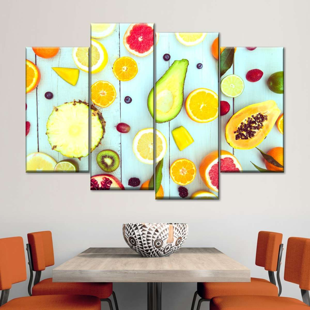 Tutti Frutti Multi Panel Canvas Wall Art will make your kitchen or restaurant aesthetically appealing. This beautiful canvas print is sure to stimulate your taste buds and get you ready for the next meal!