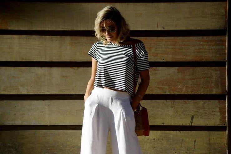 looksly - Camila Milagres com pantalona e cropped de listras do Verão 2016