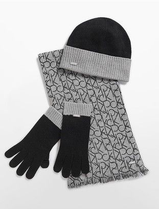 3705983a61a Knit Hat Tech Gloves Logo Scarf Set  hat  womens