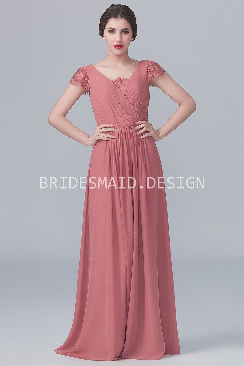 Vintage Dusty Rose Chiffon V Neck Cap Sleeve Long Bridesmaid Dress ...