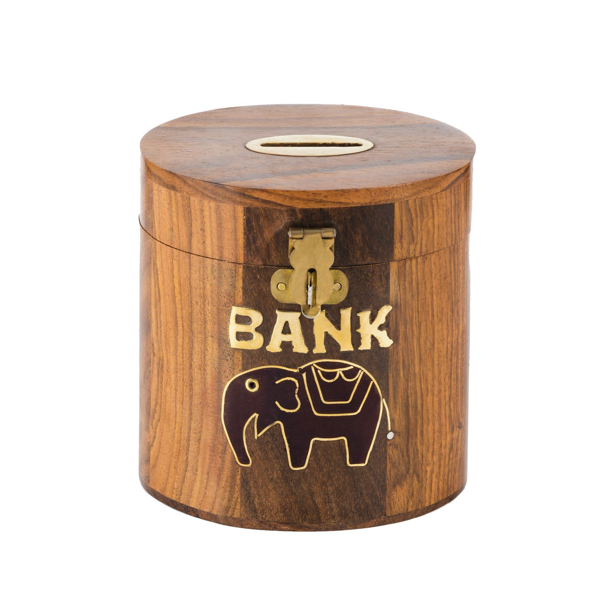 Rusticity Wood Piggy Bank For Kids And Adults Elephant Design Handmade 4x4 In Coin Bank With Lock And Wooden Money Wooden Money Boxes Piggy Bank Craft