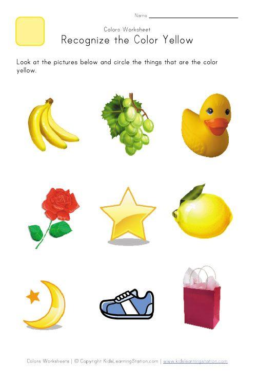 Recognize The Color Yellow Colors Worksheet For Kids Color Worksheets Shape Worksheets For Preschool Preschool Colors