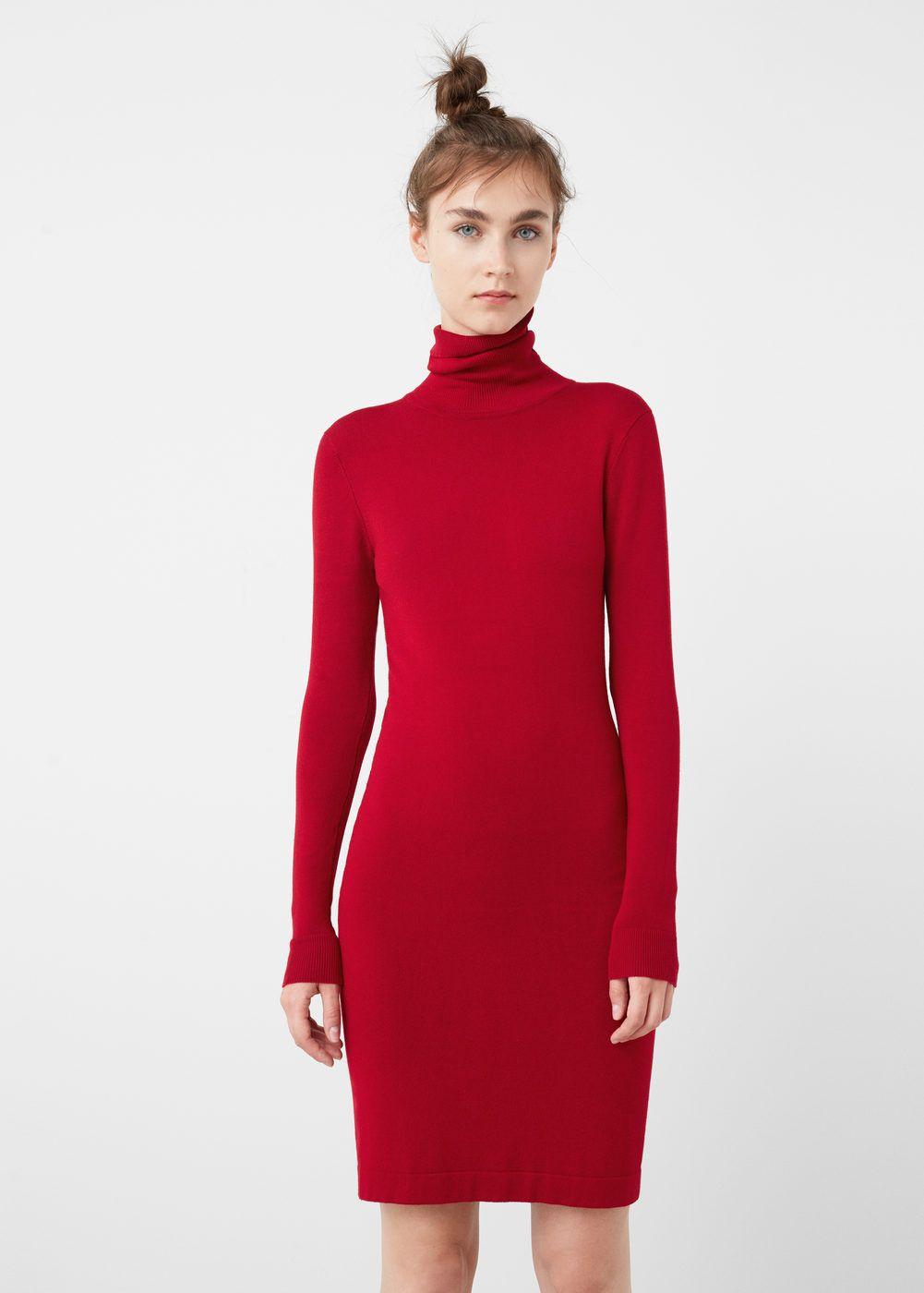 33bc2d3a74 Vestido cuello alto - Mujer en 2019 | MANGO | Vestido cuello alto ...