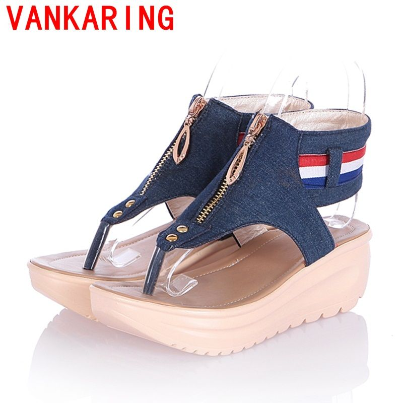 be3773ca87 VANKARING shoes 2016 Fashion Summer Women's Wedges Shoes Sandals ...