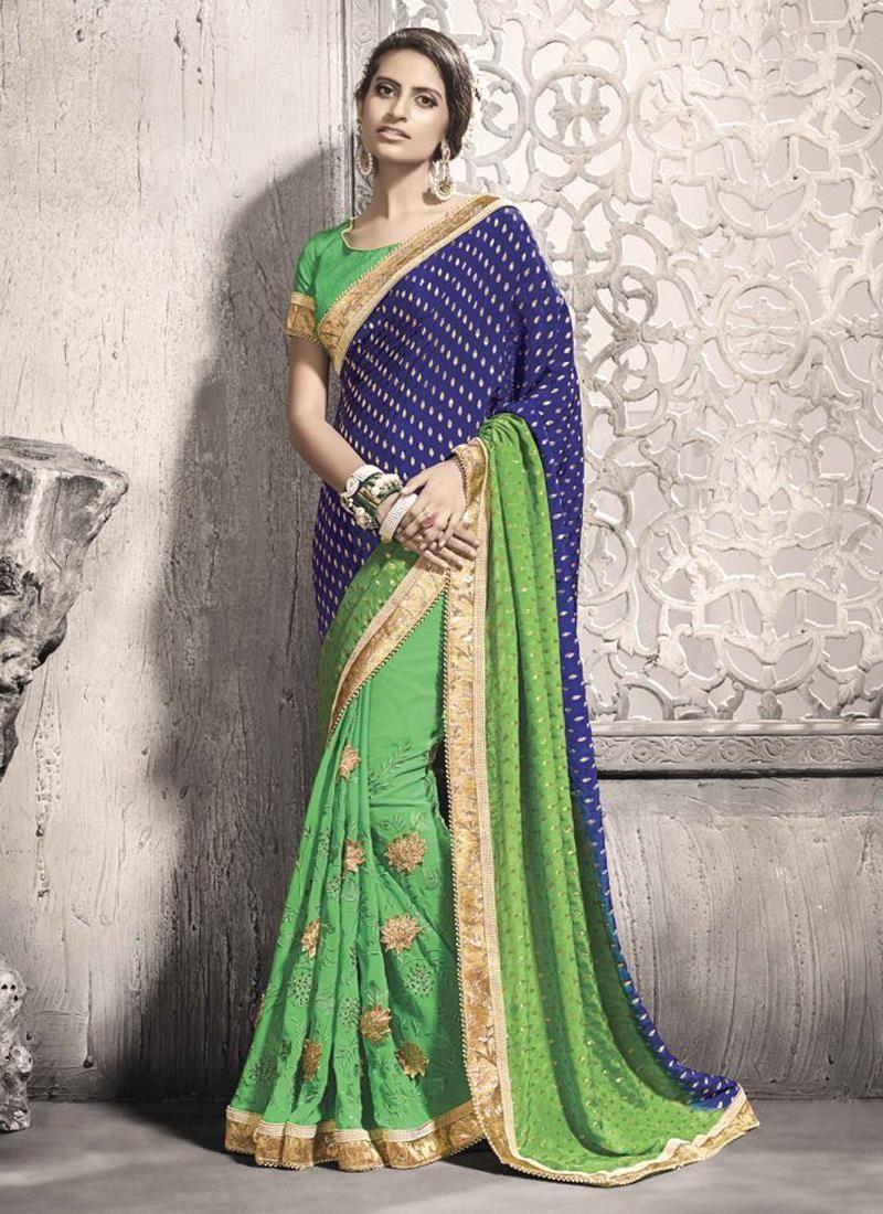 Sari wedding dress  Lovely Green Georgette Designer Saree  The Ethical Green