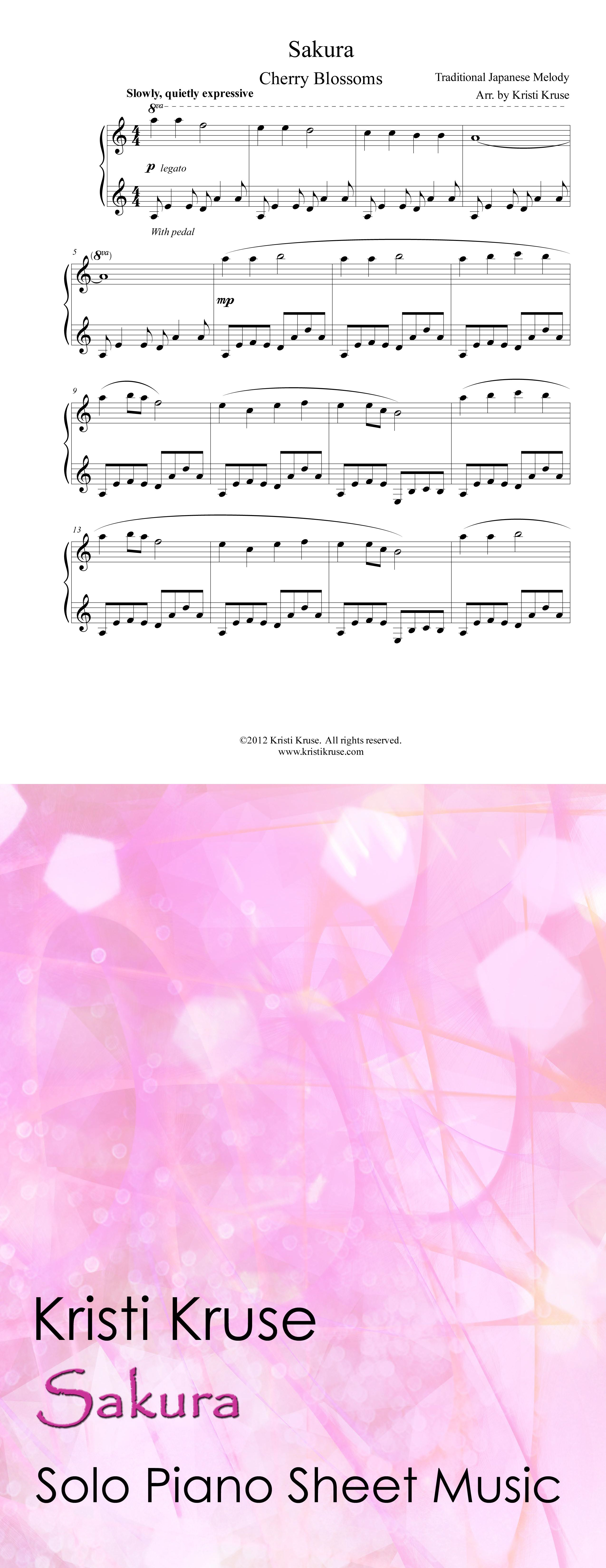 Sakura Cherry Blossoms Piano Sheet Music Traditional Japanese Folk Song Arranged For Solo Piano On Shee Digital Sheet Music Sheet Music Piano Sheet Music