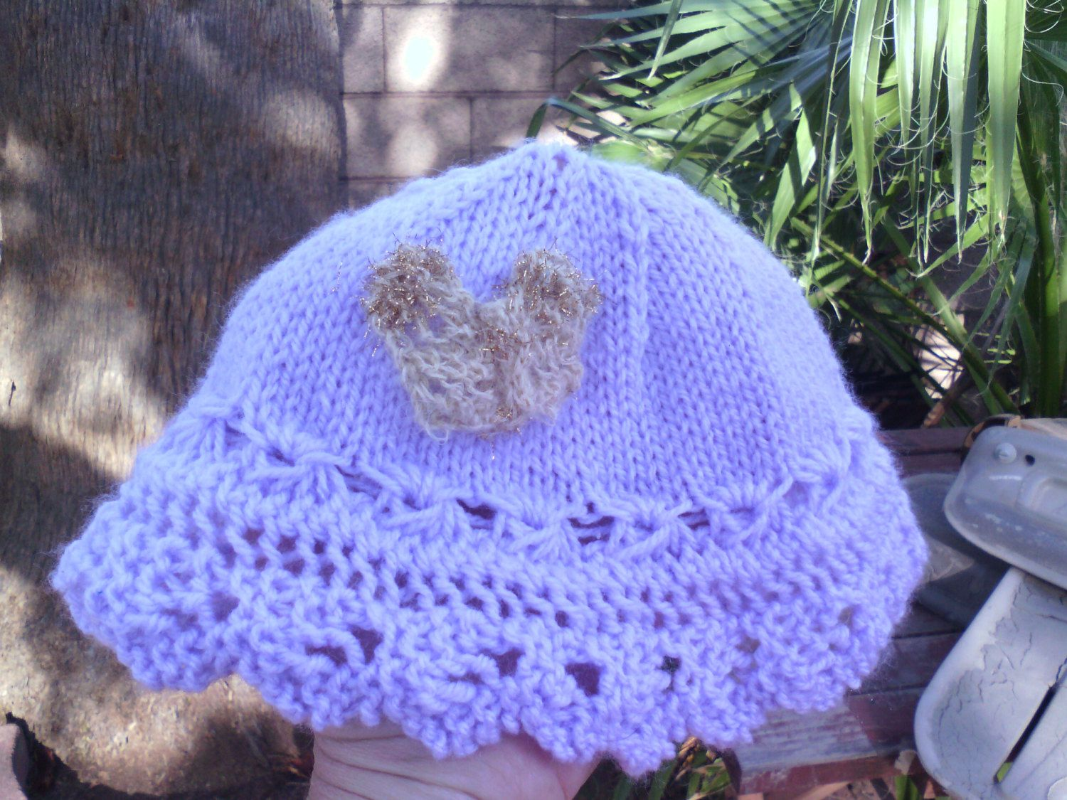 Baby Girl to Toddler Knit Sunhat with knit broomstick lace ...