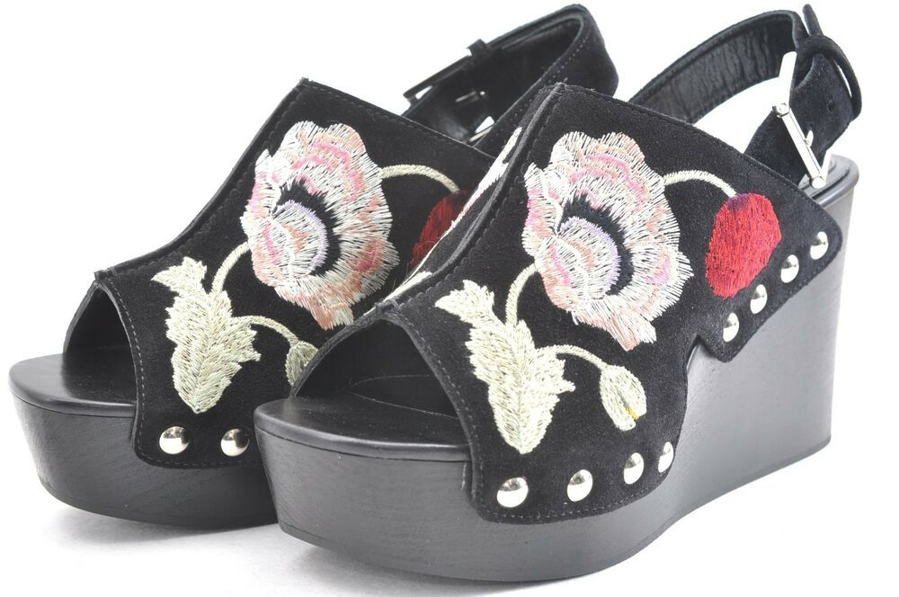 930737ca1b9 eBay #Sponsored Auth ALEXANDER McQUEEN Floral Embroidered Wedge ...