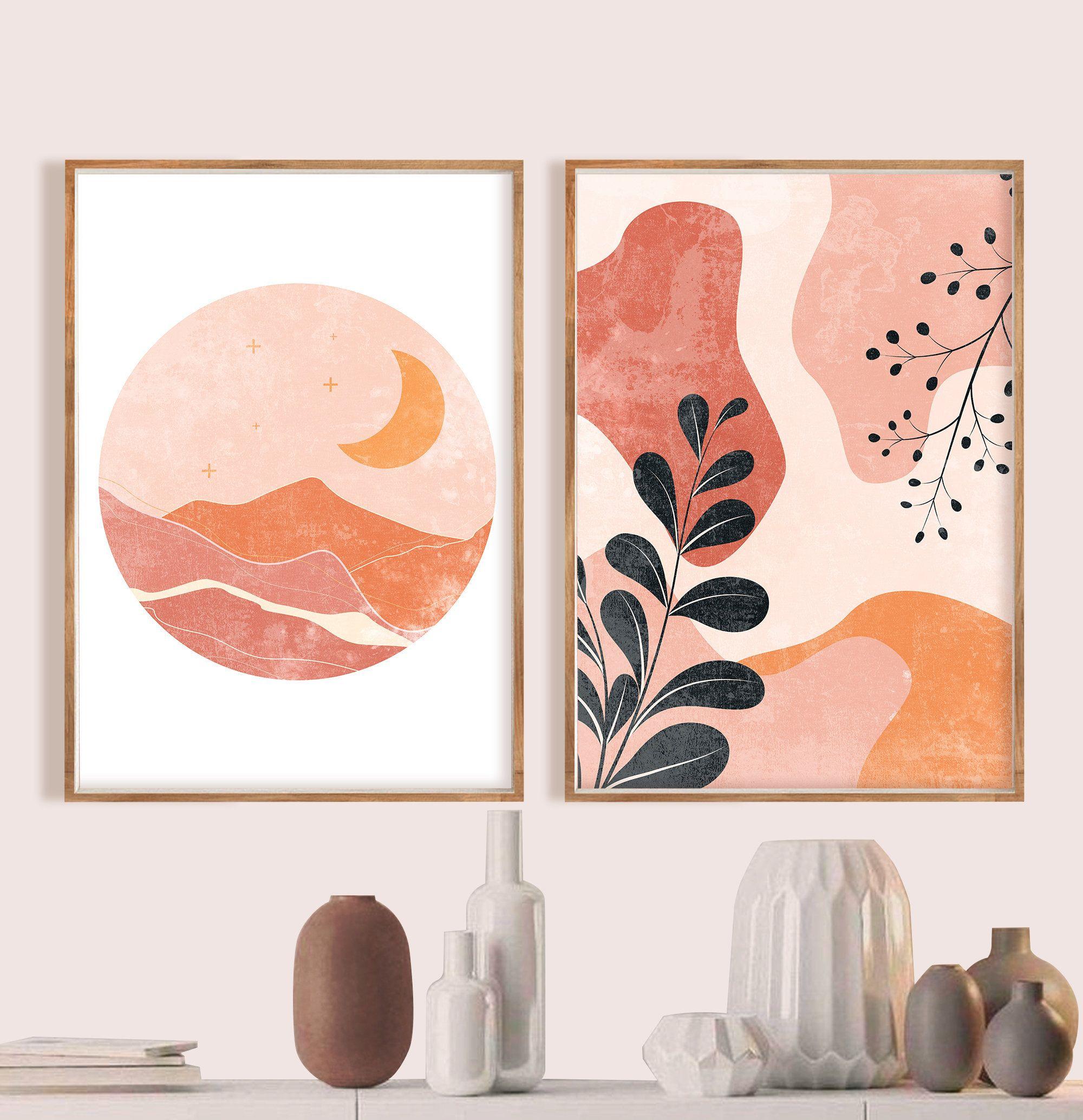 Geometric Mid Century Art Set Of 2 Gallery Wall Art Abstract Etsy Boho Wall Art Modern Art Prints Art Gallery Wall
