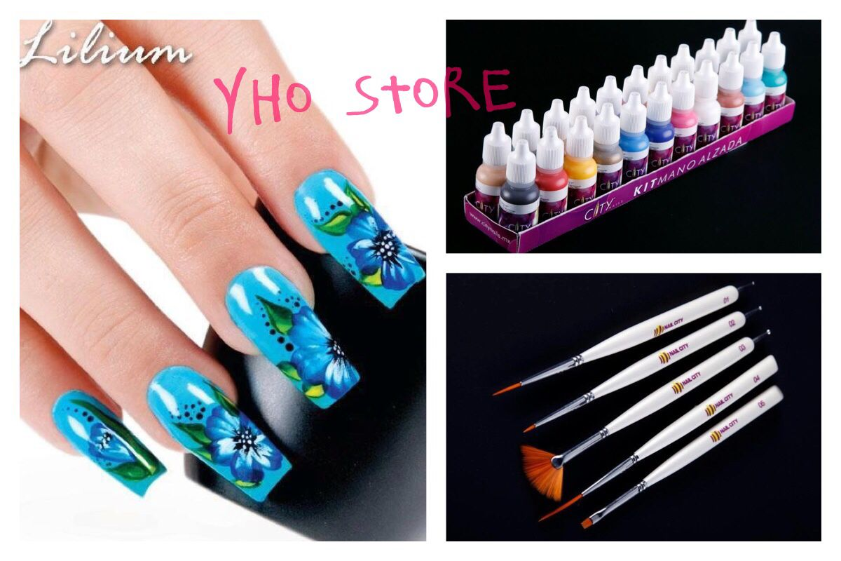Set Of Nail Factory Acrylic Paint For One Stroke By City Nails Set Of 2 And 1 Dual Brushes For One Stroke Brush And Dotter Too City Nails Nails Nail Designs