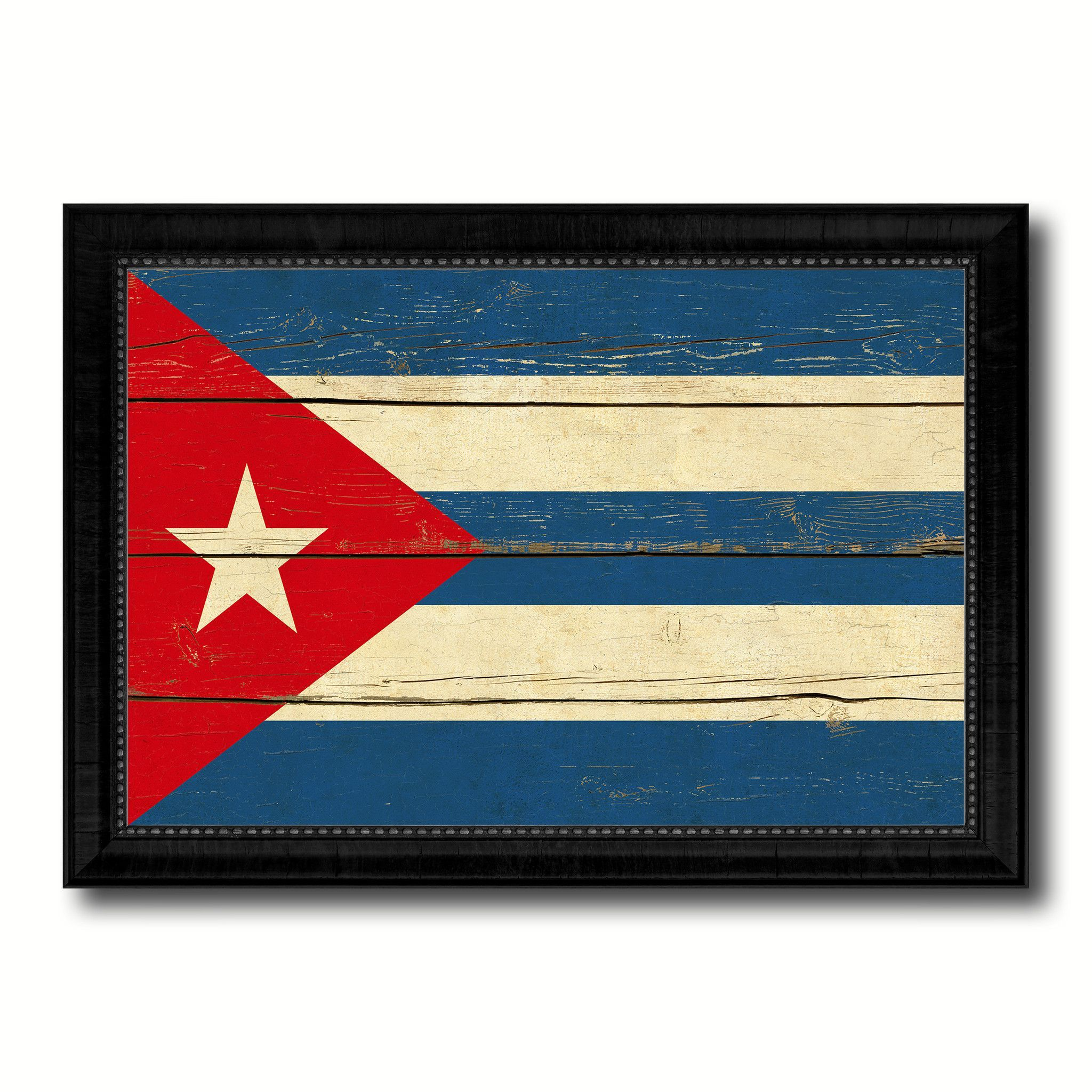 Cuba Country Flag Vintage Canvas Print with Black Picture Frame Home ...