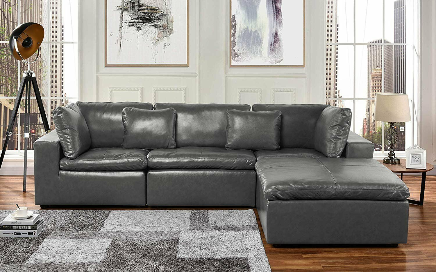 Leather Lounge Sectional Sofa L Shape Couch with Wide ...