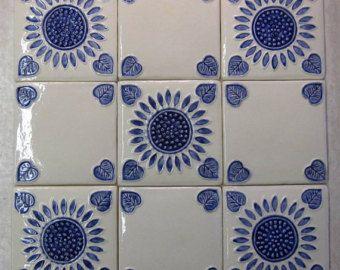 Handpainted Ceramic Tile Set Of 9 1 Sq Ft Blue And White Tuscan Sunflower Tiles Handmade Tiles Kitch Hand Painted Ceramics Hand Painted Handmade Tiles