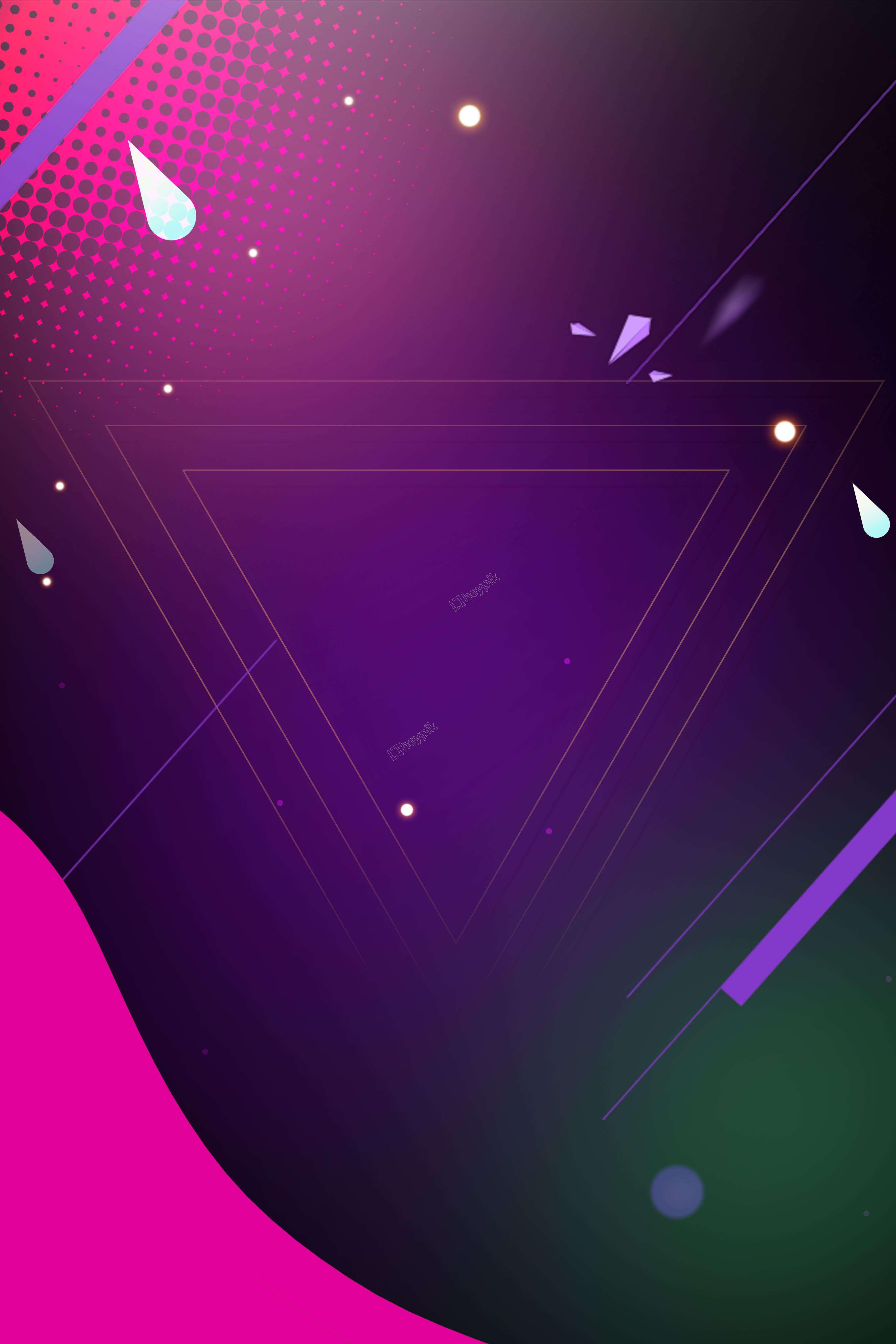 Simple Neon Flat Geometric Stereo Poster Neon Rosa Rosa