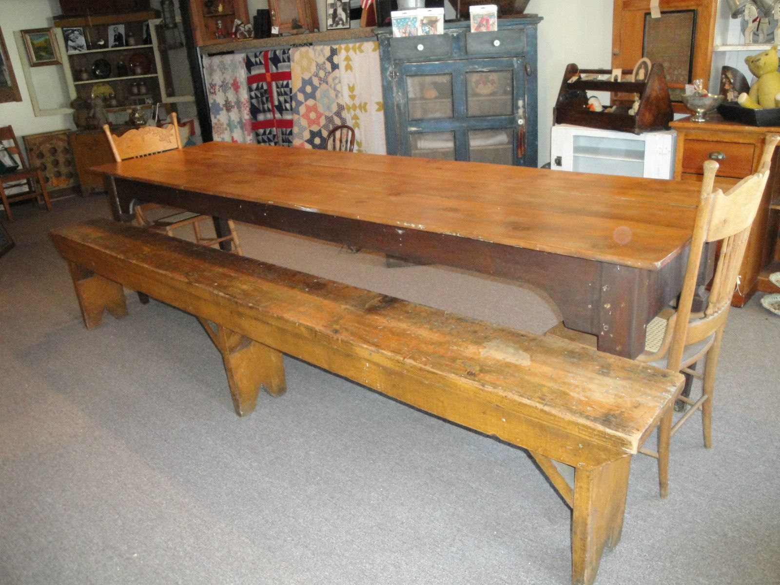 Terrific Primitive Antique Harvest Table 10 Ft W Bench Lovely Patina Alphanode Cool Chair Designs And Ideas Alphanodeonline