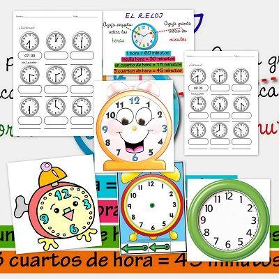Métodos Para Aprender Las Horas Del Reloj Escuela En La Nube Aprender La Hora Reloj Fichas