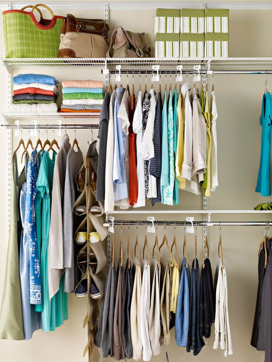 Wonderful Strategy: Hanging Clothes. (tips From Bhg.com) For Dbl Hang Area