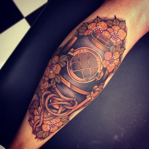 #helmet #nautical_tattoo #diver #flowers #ocean #tom_bartley