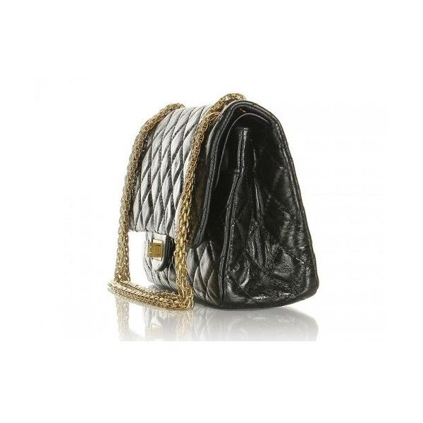 Chanel Black Metallic Leather Medium Re-Issue 2.55 Flap Bag ❤ liked on Polyvore