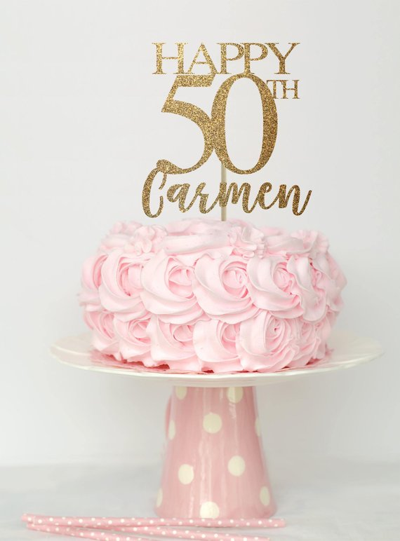50 And Fabulous Cake Topper Birthday Decorations 50th Decor