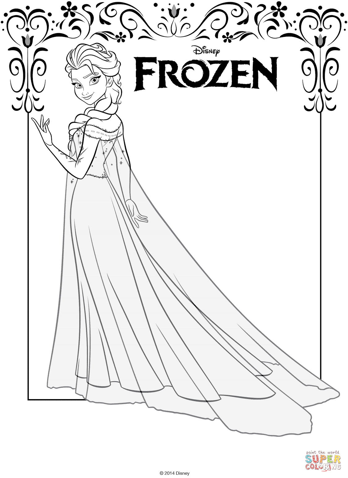 elsa from frozen coloring page free