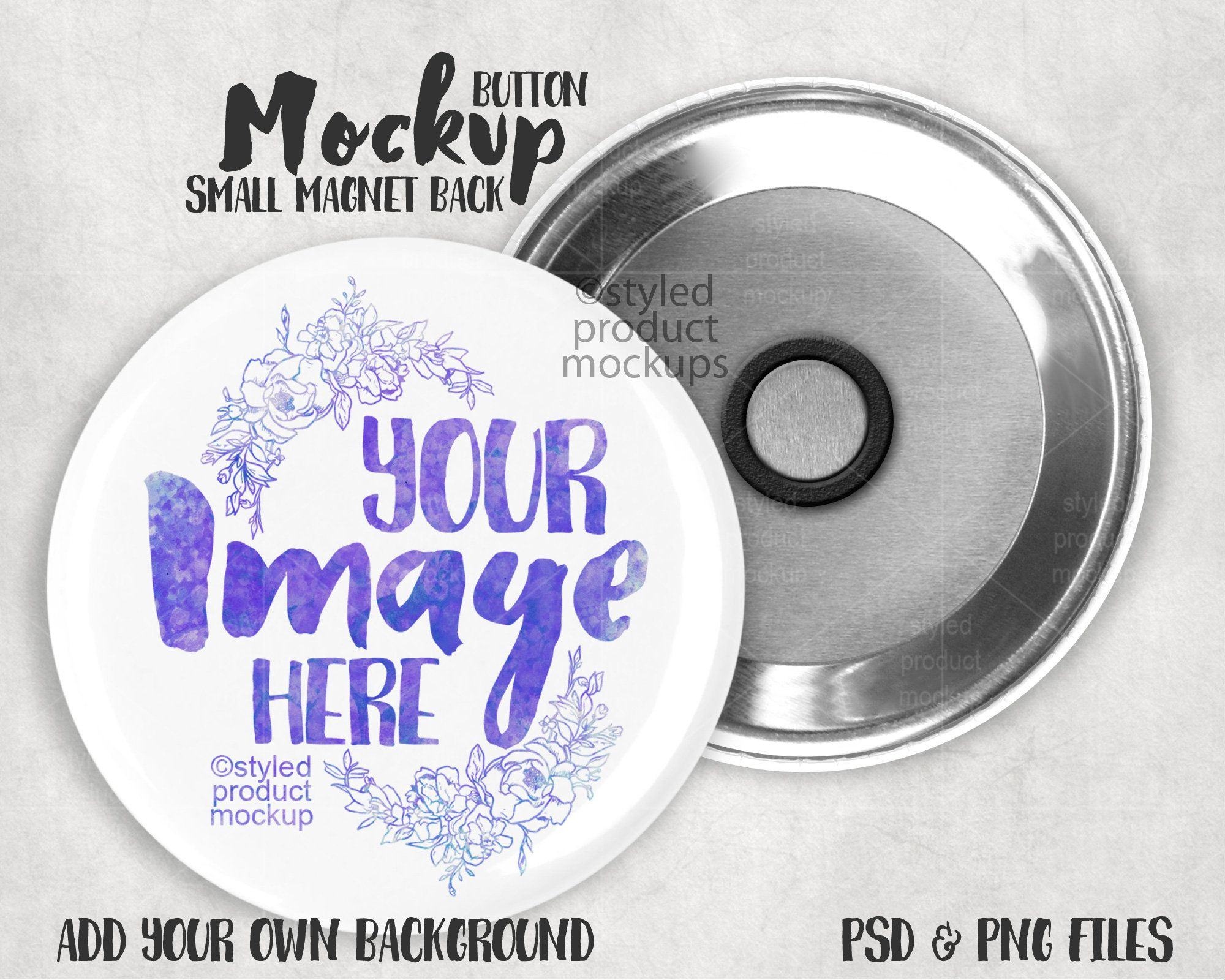 Small Magnet Button Mockup Add Your Own Image And Background Small Magnets Mockup Buttons