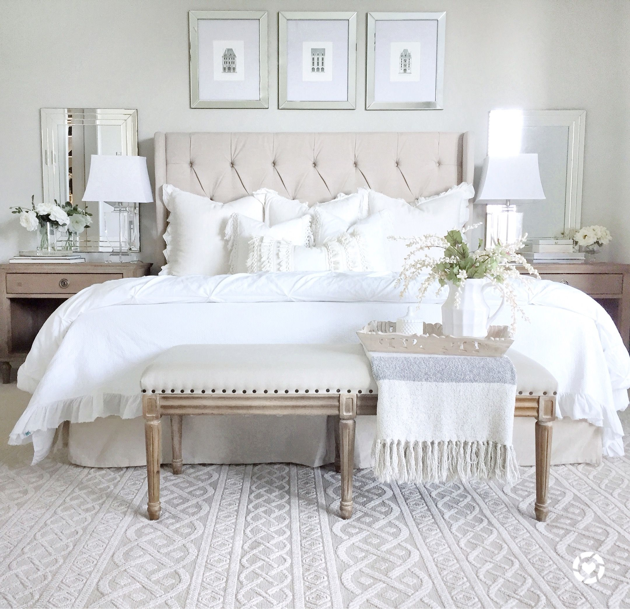 White master bedroom decor  Neutral bedroom decor  Bedroom  Pinterest  Bedrooms Modern