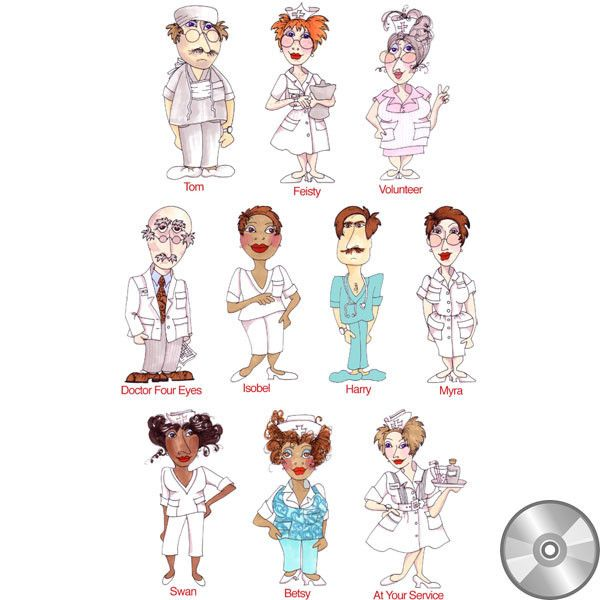 Happy Nurses Embroidery Design Collection | CD
