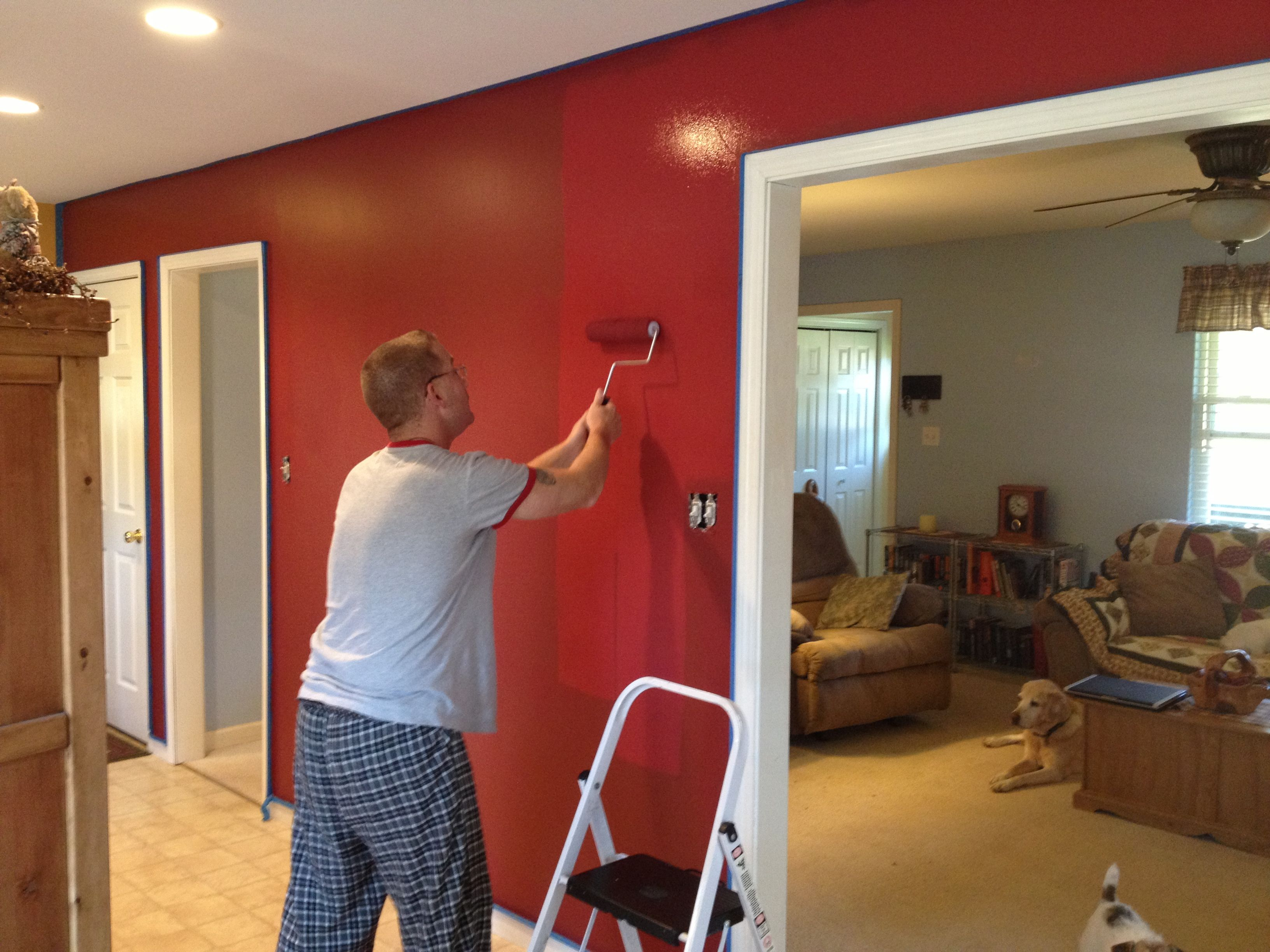 Cabin Red Accent Walls In Kitchen Dining Room